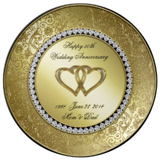 Classic Golden Wedding Anniversary Porcelain Plate