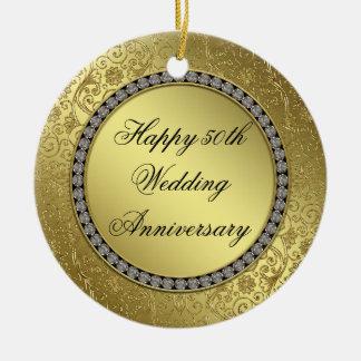 Classic Golden Wedding Anniversary Round Ornament