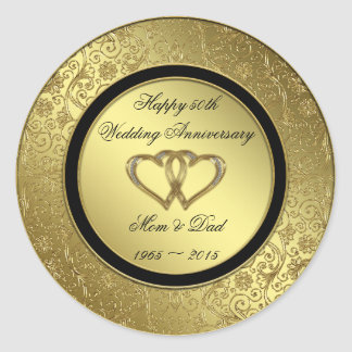Classic Golden Wedding Anniversary Round Sticker