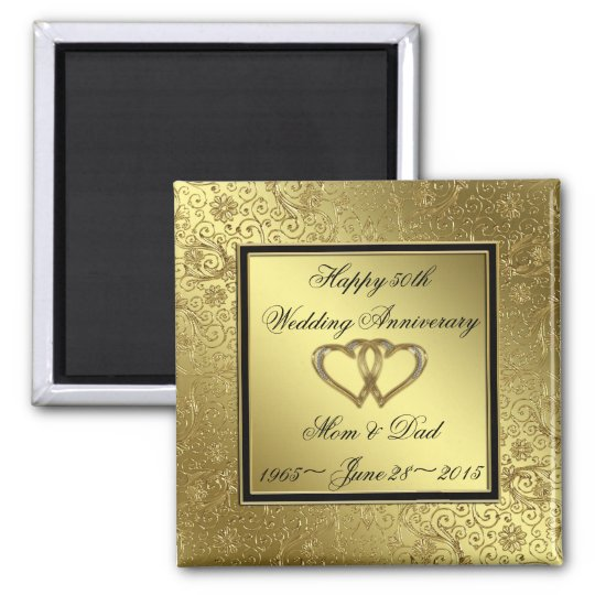 Classic Golden Wedding Anniversary Square Magnet