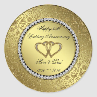 Classic Golden Wedding Anniversary Sticker