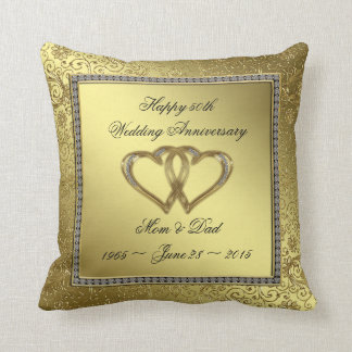 Classic Golden Wedding Anniversary Throw Pillow Throw Cushion