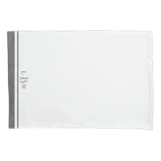 Classic Gray Border Monogrammed Pillowcase