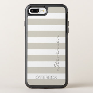 Classic Gray Linen Beige Stripes Name OtterBox Symmetry iPhone 8 Plus/7 Plus Case