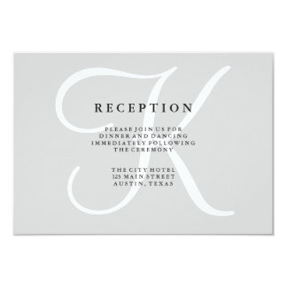 Classic Gray Monogram Wedding Reception Card