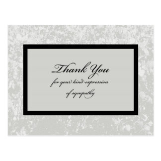 Classic Gray Sympathy Thank You Postcard