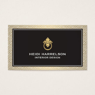 Classic Greek Key Pattern Door Knocker Gold/Black Business Card