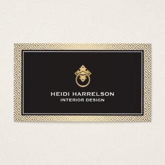 Classic Greek Key Pattern Door Knocker Gold/Black Business Card