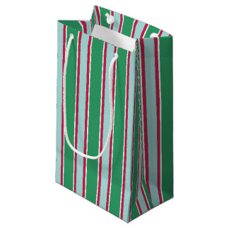 Classic Green Blue Christmas Striped Gift Bag