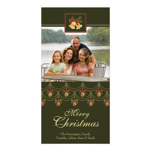 Classic green gold merry christmas photo card