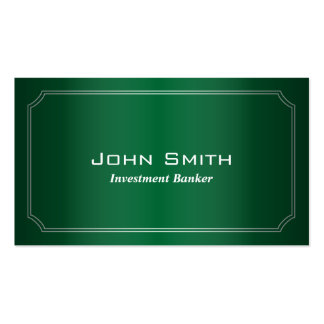 Classic Green Investment Banker Business Card
