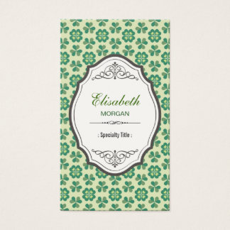 Classic Green Lucky Clover - Elegant Vintage Frame Business Card