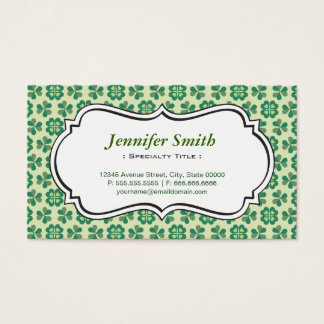 Classic Green Lucky Clover Simple Elegant Shamrock Business Card