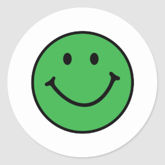 classic green smiley face round sticker