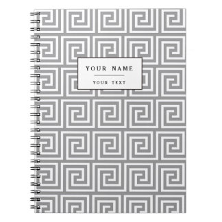 Classic Grey and White Greek Key Pattern Notebooks
