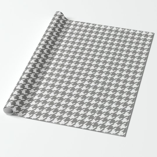 Classic Grey and White Houndstooth Pattern Wrapping Paper