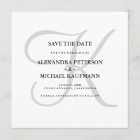 Classic Grey Monogram Save the Date