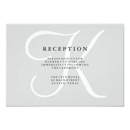 Classic Grey Monogram Wedding Reception Card