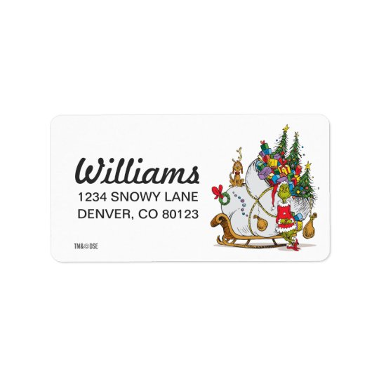Classic Grinch   The Grinch & Max with Sleigh Address Label