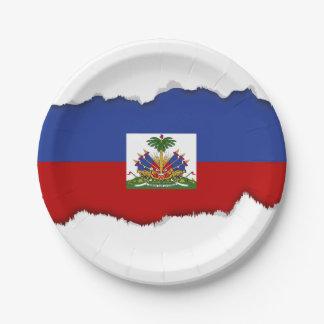 Classic Haitian Flag Paper Plate