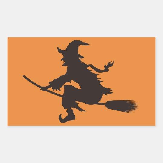 Classic Halloween Witch Rectangular Sticker