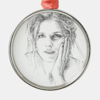 Classic hand drawn portrait christmas ornament