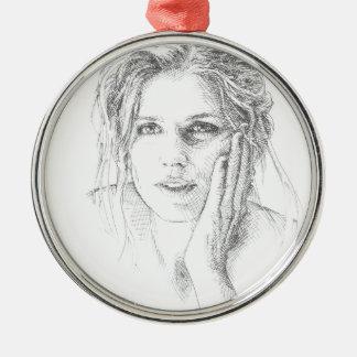 Classic hand drawn portrait Silver-Colored round decoration