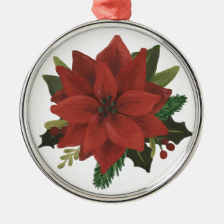 Classic Hand Painted Poinsettia Holiday Christmas Ornament