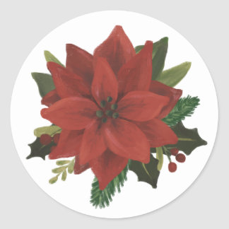 Classic Hand Painted Poinsettia Holiday Sticker