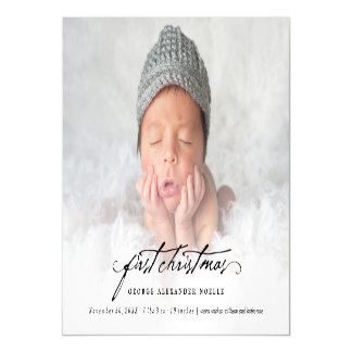 Classic Handwriting Baby 1st Christmas Photo Card Magnetic Invitations