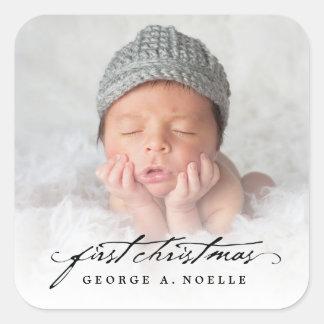 Classic Handwriting Baby 1st Christmas Sticker