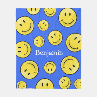 Classic Happy Face Fleece Blanket