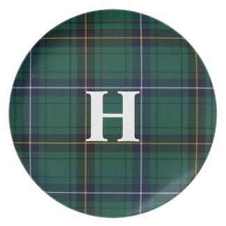 Classic Henderson Teal Tartan Plaid Monogram Plate