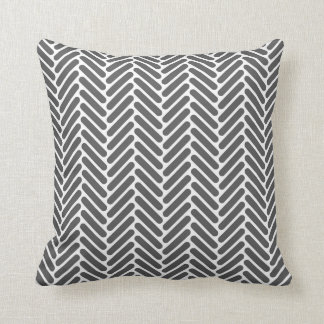 Classic Herringbone Pattern in Charcoal and White Cushion