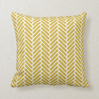 Classic Herringbone Pattern in Mustard and White Cushion