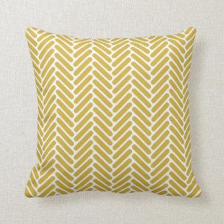 Classic Herringbone Pattern in Mustard and White Throw Pillow