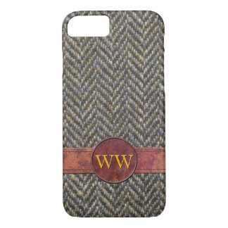 Classic Herringbone Tweed and Leather Monogram iPhone 7 Case