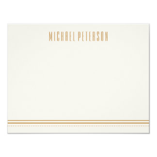 Classic Hexagon Men's Stationery - Gold 11 Cm X 14 Cm Invitation Card
