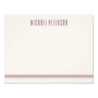 Classic Hexagon Men's Stationery - Maroon Card