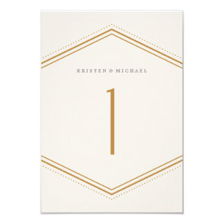 Classic Hexagon Table Number - Gold 9 Cm X 13 Cm Invitation Card