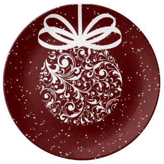 Classic Holiday White on Red  Baroque Ornament Plate