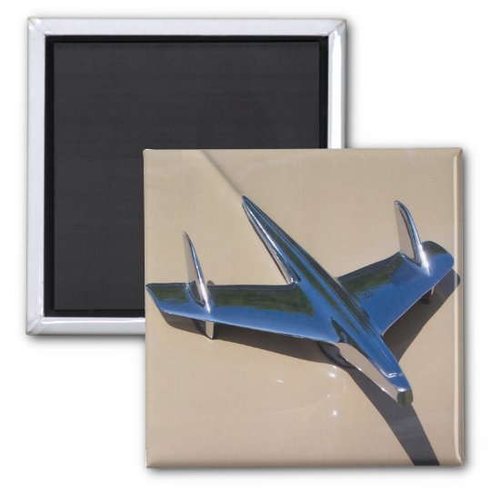 classic hood ornament with beigh background square magnet