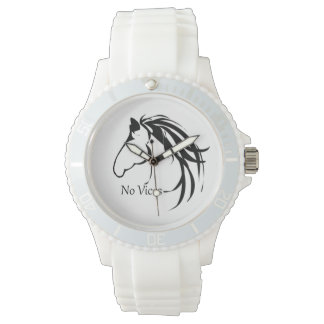 Classic Horse Head Logo Horses No Vices Quote Watch