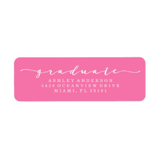 Classic Hot Pink Graduation Address Labels