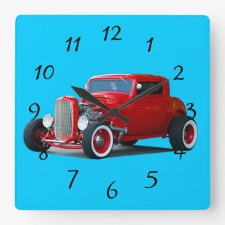 Classic Hot Rod Car Square Wall Clock