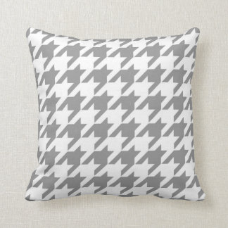 Classic Houndstooth Pattern in Grey and White Cushion