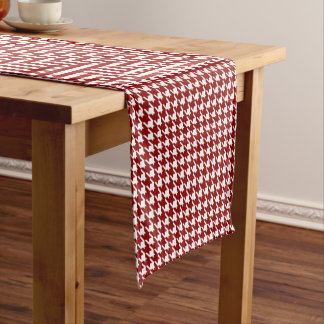 Classic Houndstooth Pattern in Red and White Short Table Runner