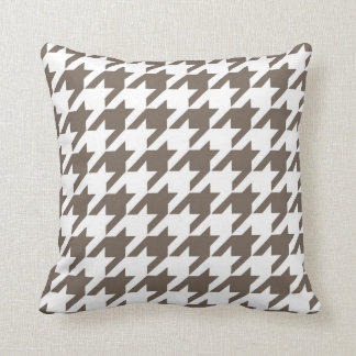 Classic Houndstooth Pattern in Taupe and White Cushion