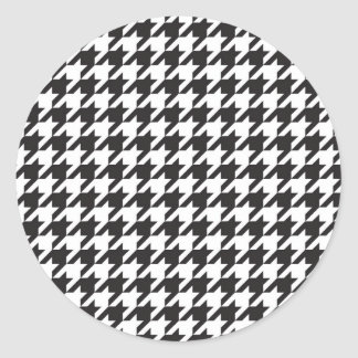 classic houndstooth style print round stickers
