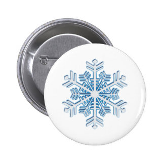 Classic Icy Blue Winter Christmas Snowflake 6 Cm Round Badge